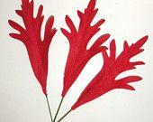 Vintage Red Velvet Millinery Leaves Christmas Eames 1950's Abstract  Leaves I-2 flocked CIJ