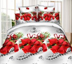 Charming Red #Rose and Diamond Print 4-Piece Polyester #3D Duvet Cover #bedding #bedroom #decor