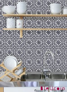 Tile decal Moroccan tile pattern 44 pcs by Bleucoin on Etsy, $68.49