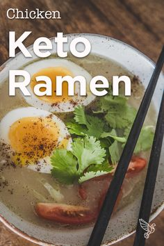 No instant noodles here: This paleo, and keto ramen is loaded with nourishing bone broth and fiber-packed veggies for an easy low-carb meal. No Carb Recipes, Ramen Recipes, Asian Recipes, Cooking Recipes, Easy Dinner Recipes, Easy Meals, Whole30, Low Carb Meal, Paleo Cookbook
