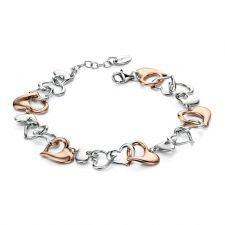 Fiorelli Silver & Rose Gold Multi Heart Bracelet B4537 Unique Bracelets, Silver Bracelets, Bangle Bracelets, Silver Jewelry, Bangles, Fiorelli, Heart Bracelet, Jewelry Collection, Swarovski Crystals