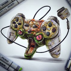 Playstation controller by Tino Copic