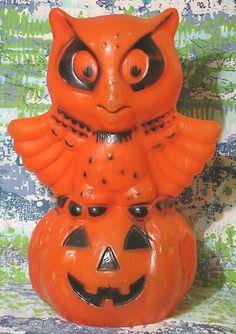 Vintage Halloween Blow Mold ~ Owl & Jack O' Lantern