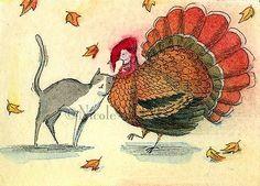 "Wong ACEO Original Painting ""Turkey Love"" Cat Pets Thanksgiving Food Fall | eBay"