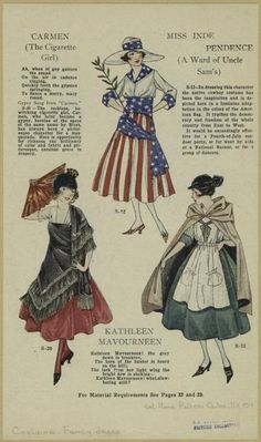 Several suggested fancy dress costumes with descriptions from a 1921 fashion magazine.