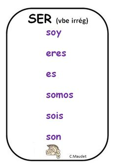 Spanish verbs - Present tense of SER = To be (permanent)