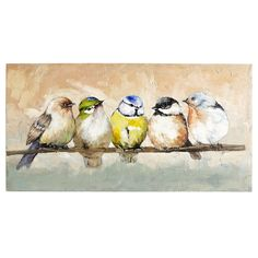 Hand-painted on canvas, a group of plump and colorful birds gather on a branch to discuss neighborhood news and all that's atwitter. So what's the daily feed? That's anyone's guess, but one thing is for sure: This charming piece will have people talking.