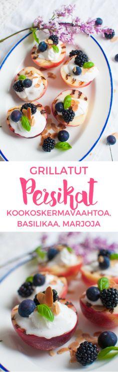 Grillatut persikat | Vegaaninen jälkiruoka | Grillaus | Kookoskermavaahto