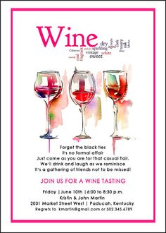 Wine Tasting Invitation Wine and cheese party invitation