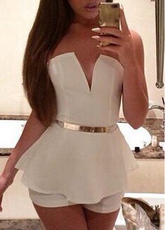 Sexy Open Back Strapless Mini Jumpsuits for Woman