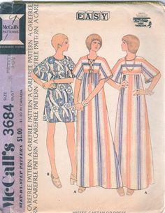 McCalls 3684 1970s TURNABOuT Caftan Dress Pattern LOST HORIZON Womens Vintage Sewing Laced Front Back Size Petite 6  Bust 30  UNCUT