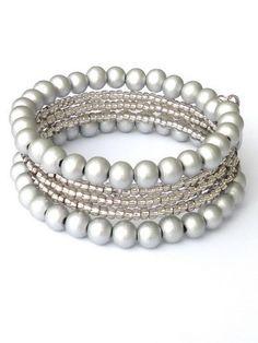Light grey bracelet , memory wire, beads (Sondrio) from Per Elle Jewelry & Accessories by DaWanda.com