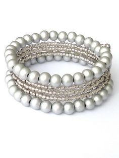 Light grey bracelet , memory wire, beads (Sondrio) from Per Elle Jewelry & Accessories by DaWanda.com