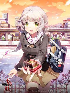 White-haired Winter-Season Anime Girl Giving Chocolates
