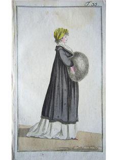 Mantel im Empirestil Muff Pelz Haube Hut Pariser Mode Empire Kupferstich 1798