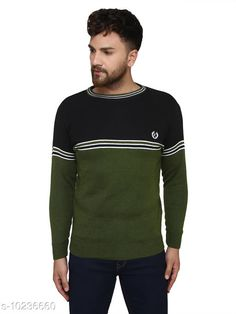 Checkout this latest Sweaters Product Name: *Kvetoo Black Round Neck Sweater Single* Fabric: Acrylic Sleeve Length: Long Sleeves Pattern: Colorblocked Multipack: 1 Sizes: S, M (Chest Size: 27 in, Length Size: 38 in)  L (Chest Size: 27 in, Length Size: 40 in)  XL Country of Origin: India Easy Returns Available In Case Of Any Issue   Catalog Rating: ★4.2 (757)  Catalog Name: Urbane Graceful Men Sweaters CatalogID_1854304 C70-SC1208 Code: 084-10236660-069