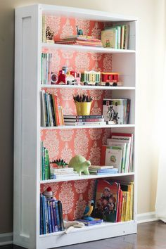 Update an old bookshelf with a fresh coat of paint and a colorful pattern that complements the room's decor. Get the tutorial at DIY On the Cheap » - GoodHousekeeping.com