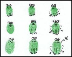 thumbprint frogs  I need to figure out some way to make this into a gift for Mom with the kids' prints!
