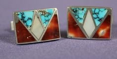 $325 #8 Mine Turquoise, Red Abalone & Green Sea Snail Cuff Links, Jewelry by  Zuni