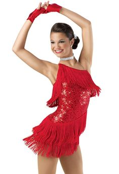 One-Shoulder Sequin Fringe Dress; Weissman Costume. Chicago Shake 6600 in blue, green, red, pink
