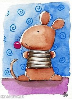 ACEO Original Watercolor Folk Art Illustration Whimsical Animals Cute Mouse | eBay