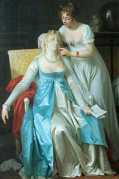 'La mauvaise nouvelle' ('Bad News') (1804) by Marguerite Gérard (1761-1837). Oil on canvas. Musée du Louvre, Paris, France.  A friend or attendant administers smelling salts to a woman who has been affected by news in a letter.