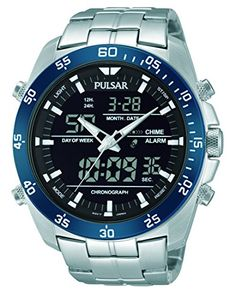 Pulsar Men's PW6013 Analog Display Japanese Quartz Silver Watch  Dress watch, Analog/digital quartz movement, Negative (light-on-dark) display, 1/100-second digital chronograph measures elapsed time/split time, Alarm mode, 12/24-hour format, EL (electroluminescent) backlight, Digital day-date-and-month display, Polished silver-tone skeleton hands with luminous accents, Polished silver-tone sweep seconds, Luminescent markers, White indices form minute track, Digital black dial with bl..