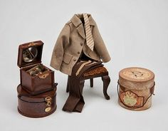 """1:12th scale miniature Gentleman's accoutrements by Gloria Kent """"Memories"""""""