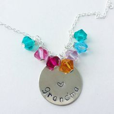 Beautiful Grandma mother's day gift. Hand stamped sterling silver disk and swarovski crystal birthstones. One for each grandchild! Etsy listing at https://www.etsy.com/listing/101160598/great-grandma-sterling-silver-necklace