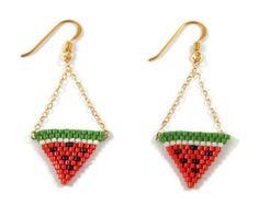 ★☆ Boucles doreilles tendance bohème parfaites pour lété  Tissage à laiguille de perles japonaises Miyuki au point Brick stitch Motif géométrique pour