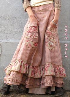 AuraGaia ADIA~ Bustleback Skirt w Rear Ruffs Poorgirl Upcycled M-3X Plus
