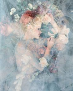 double exposure with florals and blue tulle