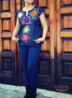 Quiero compartir lo último que he añadido a mi tienda de #etsy: Embroidered Mexican Blouse Colorik Mexican Blouse, Mexican Outfit, Mexican Style, Fiesta Outfit, Denim Blouse, Beautiful Blouses, Diy Clothes, Boho Chic, Nice Dresses