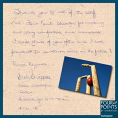 Former cricketer and coach, Australian Team, Greg Chappell pens down his experience at our hotel. Appreciation Letter, Pen Down, Cricket, Pens, Lettering, Cricket Sport, Letters, Texting, Penne