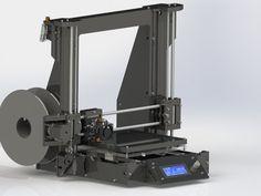 Impresora 3D Prusa i3 V2 imprimiendo un corazon de engranes