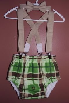 Boys Cake Smash Outfit: John Deere, Bow Tie, Diaper Cover, Suspenders, First 1st Birthday. $45.00, via Etsy.