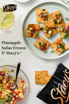 Pineapple Salsa Fresca by Stephanie Le I Love Food, Good Food, Yummy Food, Healthy Snacks, Healthy Recipes, Skinny Recipes, Eating Healthy, Appetizer Recipes, Appetizers