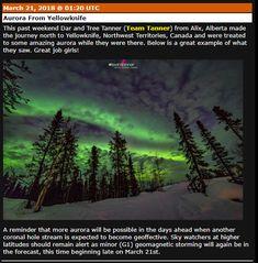 ASTRONOMIA MONSACAR: AURORA EN PLENO EQUINOCCIO MARZO 21 Aurora, Northwest Territories, Past, Northern Lights, Journey, Canada, Travel, Equinox, March
