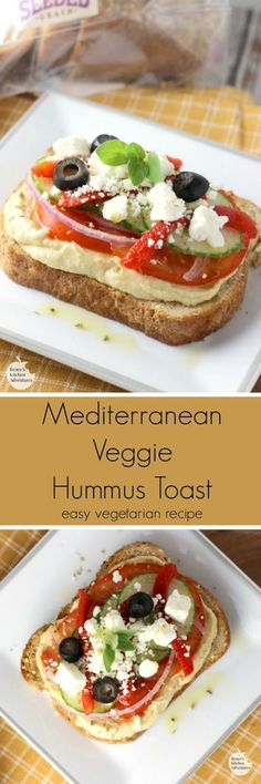 Mediterranean Veggie Hummus Toast - easy healthy recipe for veggie toast with hummus. Perfect for snack, breakfast, or light lunch!
