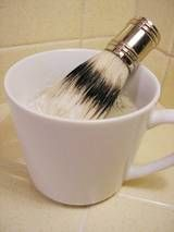 """Shaving Soap     This recipe, which you can tailor and modify to suit your own oil preferences, is not much different than a regular cold process soap recipe except for some added cosmetic clay and a higher percentage of castor oil. The clay helps give the soap extra """"slip"""" and also works to purify your skin. (Think of a clay or mud mask.) The added castor helps give a thick creamy lather. All you need to do is grab a shaving brush"""