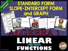 Graphing standard form & slope-intercept form equations. Task Cards.