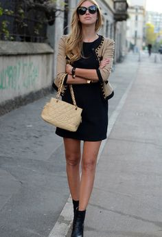 Like blazer with black sheath dress.
