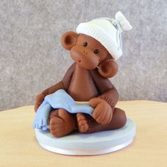 *POLYMER CLAY ~ Baby Boy Cake Topper Little Monkey