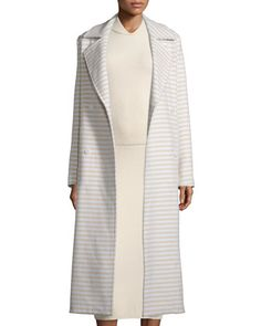 Striped Long Double-Breasted Coat, Sand by Max Mara at Bergdorf Goodman.