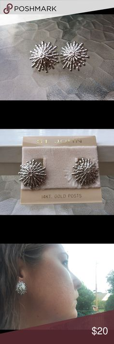 Fun Saint John Earrings These are some fun, starburst earrings for a night out. They are estate but I believe to be never worn. They are clip ons and have 14K posts so no green ears! Great gift for Mom! St. John Jewelry Earrings