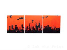 Philadelphia Skyline Triptych Flyers Edition (Orange w/ Black) 3 x 1 Foot Screenprint/Painting Large Wall Art
