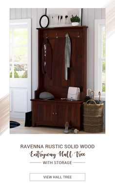 This handsome wood hall tree makes organizing this clutter zone an easy undertaking. The well-designed storage nooks carve out a space for family members to store and stash their daily on-the-go essentials with four double prong hooks that catch jackets, scarves and backpacks, built-in bench and cabinet storage underneath. #halltree #entryway #solidwood #shoestorage #furniture #cornerentryway #cornerhalltree #homedecor #decor #interiordecor #interior #interiordesign #storage…