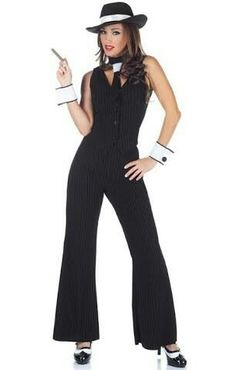 Gangster Costume Mobster Dress Suspenders Tie Cuffs Mafia Machine Gun Greta 9951