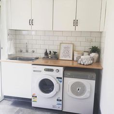 White walls, white subway tiles, wooden benchtop Informations About I… Small Laundry Rooms, Laundry In Bathroom, Laundry Table, Garage Laundry, Laundry Dryer, Basement Laundry, Washroom, Laundry Storage, Kitchen Storage