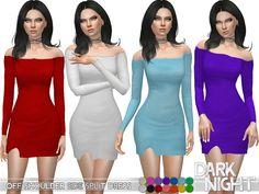The Sims Resource: Off Shoulder Side Split Dress by DarkNighTt • Sims 4 Downloads